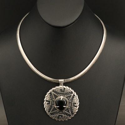 1950s Porfinio Lugo Taxco Mexican Modernist Sterling Moldavite Necklace