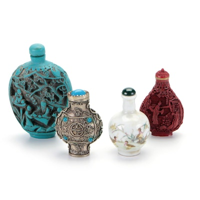 Chinese Tibetan Silver, Carved Resin, Faux Cinnabar and Porcelain Snuff Bottles