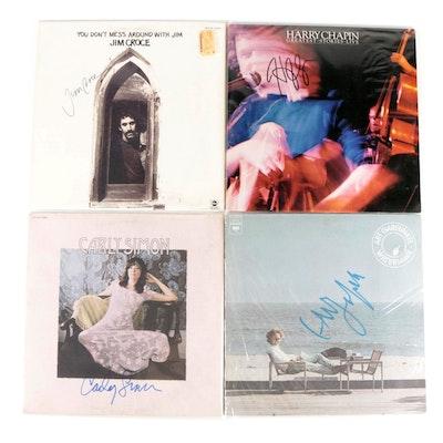 Jim Croce, Harry Chapin, Carly Simon and Art Garfunkel Signed Vinyl LP Records
