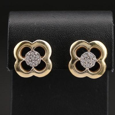 18K 0.15 CTW Diamond Quatrefoil Earrings