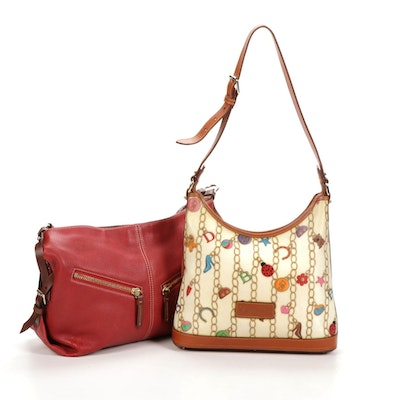 Dooney & Bourke Coated Canvas and Pebbled Leather Shoulder Bags