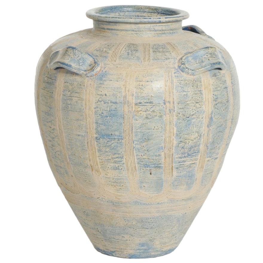 Large Ceramic Floor Vase with Handles