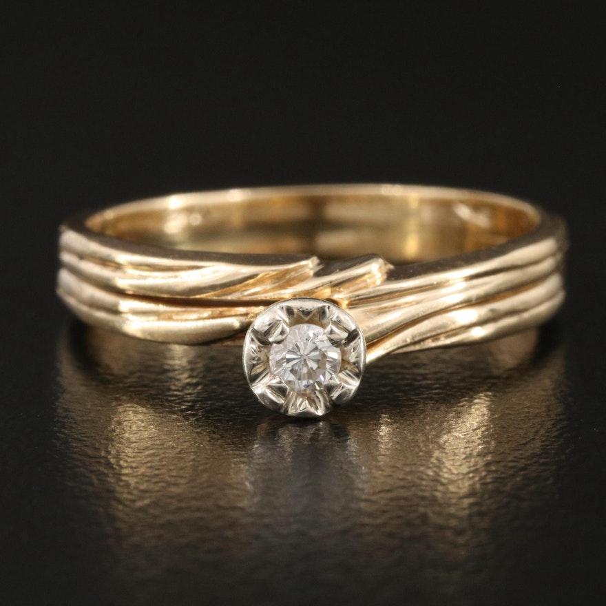 14K 0.06 CT Diamond Solitaire Ring