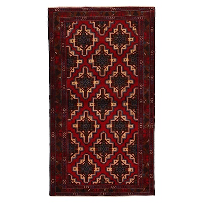 3'11 x 7' Hand-Knotted Pakistani Baluch Area Rug