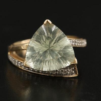 14K Prasiolite and Diamond Ring