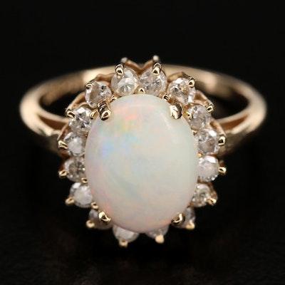 14K Opal and Diamond Sapphire Ring