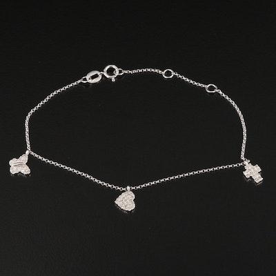 14K Butterfly, Heart, and Cross 0.26 CTW Diamond Station Bracelet