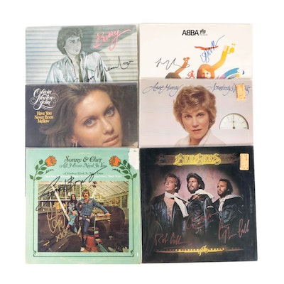 ABBA, Barry Manilow, Cher, Bee Gees and Other Signed Vinyl Pop Records