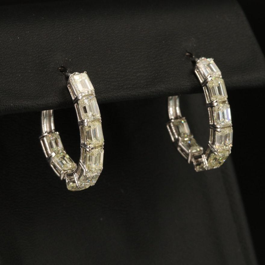 14K 7.30 CTW Diamond Inside-Out Hoop Earrings