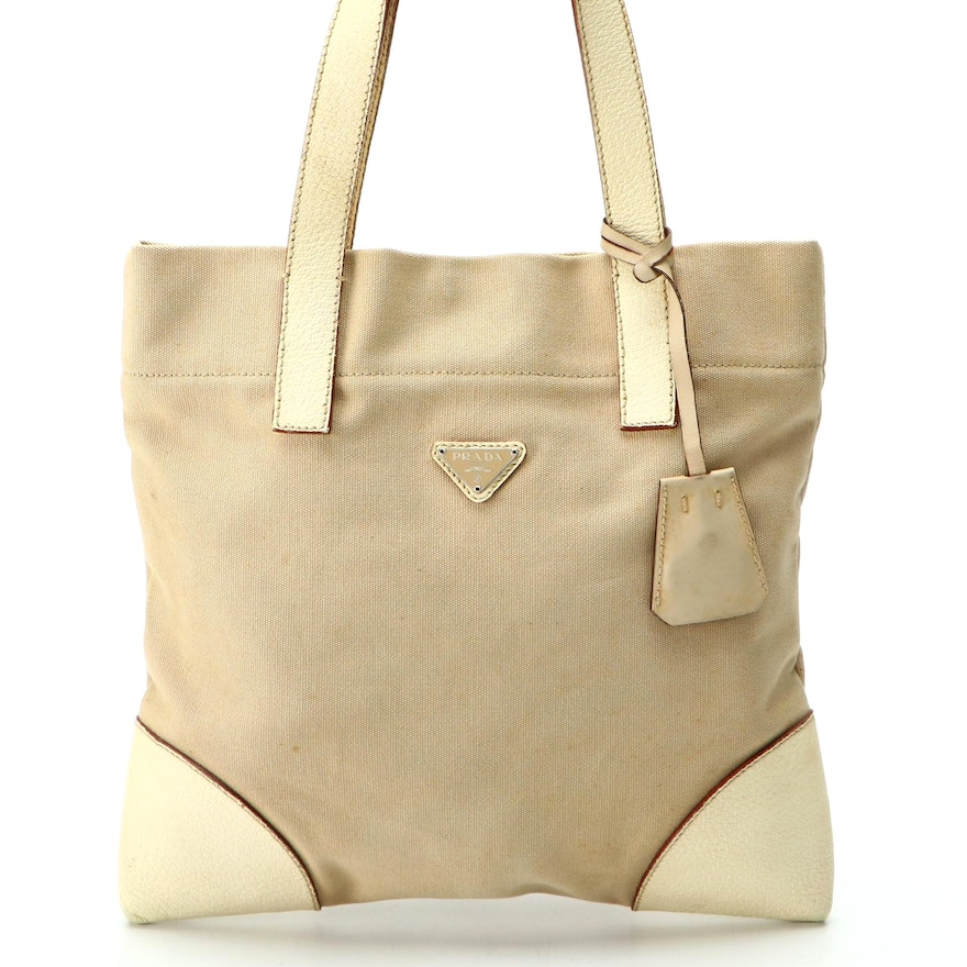 Prada Canvas Tote with Ivory Grained Leather
