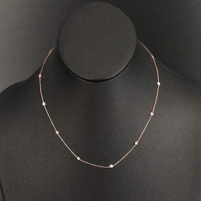 18K Rose Gold 0.50 CTW Diamond Station Necklace
