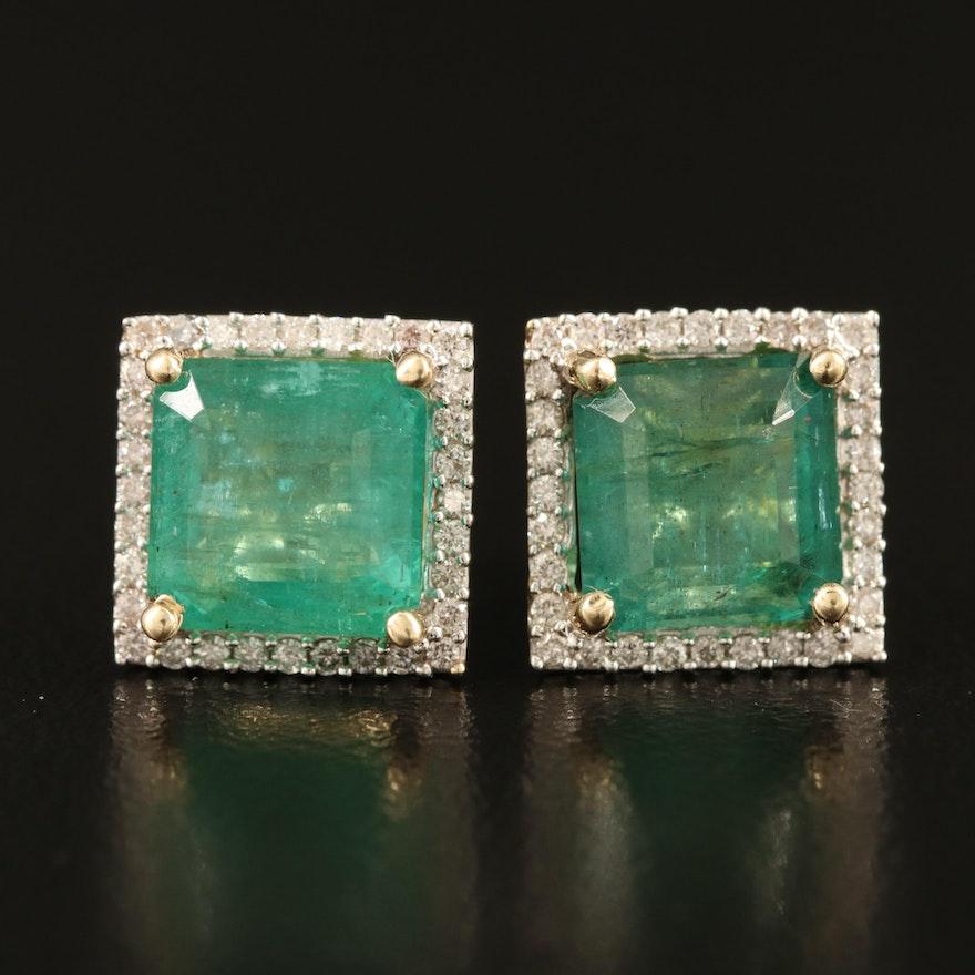 14K 5.40 CTW Emerald and Diamond Halo Stud Earrings
