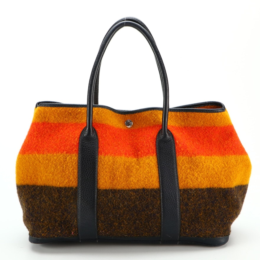 Hermès Rocabar Garden Party 36 in Wool and Buffalo Leather with Mintra Organizer