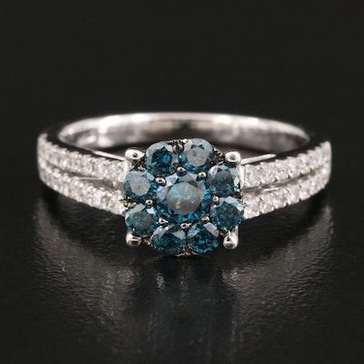 14K 0.96 CTW Diamond Cluster Ring