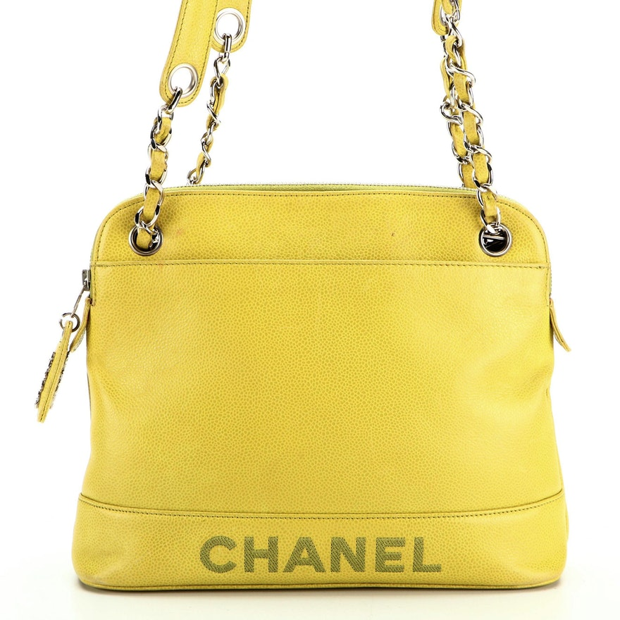 Chanel Dome Shoulder Bag in Chartreuse Caviar Leather
