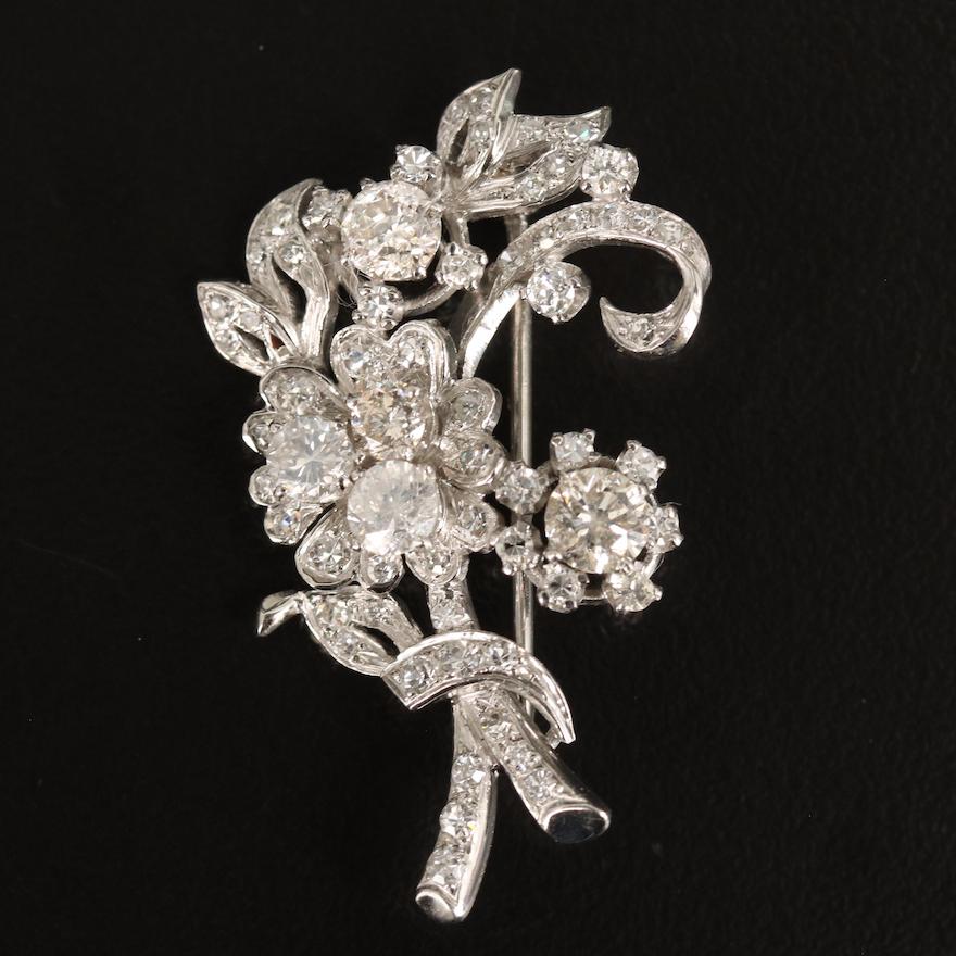 Vintage Platinum 2.78 CTW Diamond Bouquet Converter Brooch