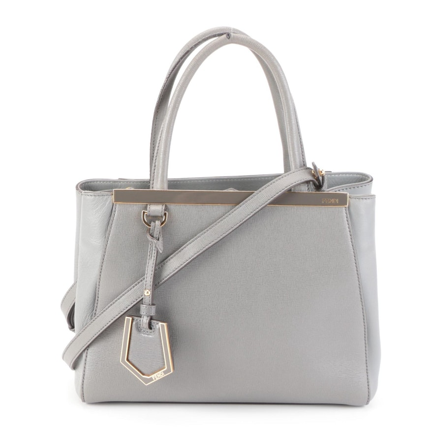 Fendi Petite Sac 2jours Elite Tote Bag in Grey Saffiano and Smooth Leather
