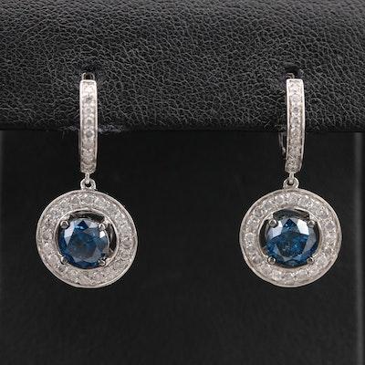 14K 2.50 CTW Diamond Halo Drop Earrings