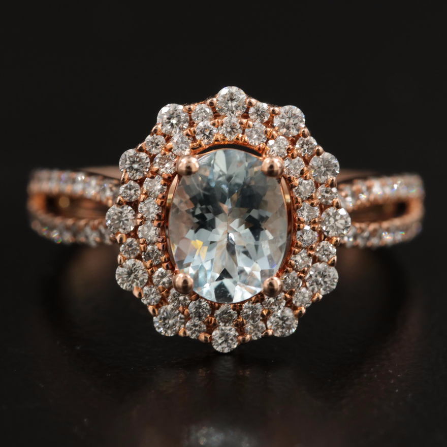 Marchesa 14K Rose Gold Aquamarine and Diamond Ring
