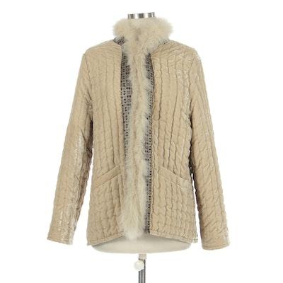 ETRO Velvet Jacket with Fox Fur Trim