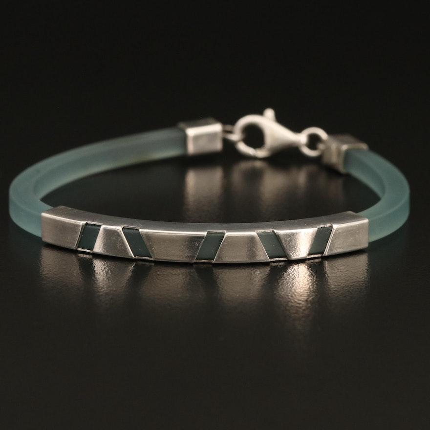 Italian Sterling and Acrylic Bracelet