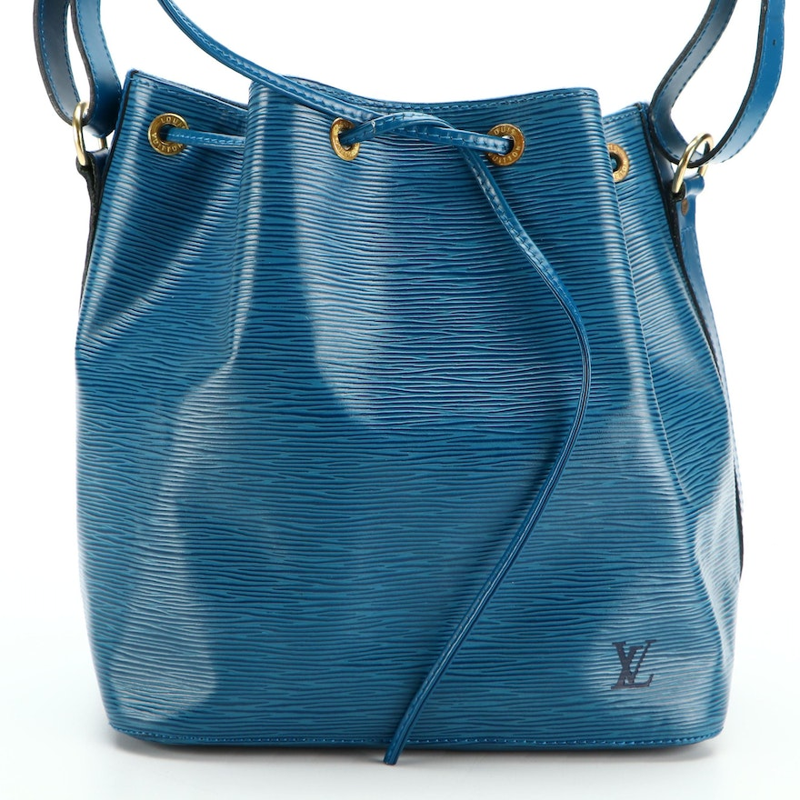 Louis Vuitton Petite Noé Bucket Bag in Toledo Blue Epi and Smooth Leather