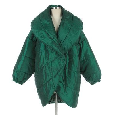 Guy Laroche Sportswear Large Collar Puffer Coat in Emerald Green