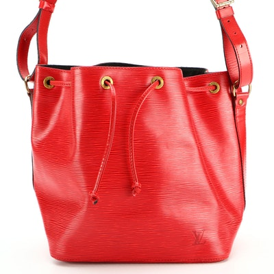 Louis Vuitton Petite Noé Bucket Bag in Castilian Red Epi and Smooth Leather