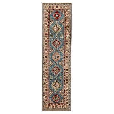 2'8 x 10' Hand-Knotted Afghan Kazak Carpet Runner