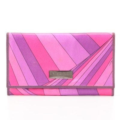 Emilio Pucci Compact Wallet in Pink and Purple Abstract Print