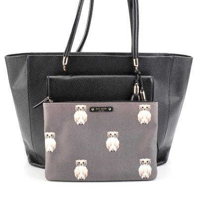 Kate Spade Black Grained Leather Tote Bag and Owl Patterned Zip Clutch