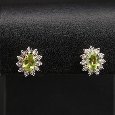 14K Peridot and Diamond Halo Earrings
