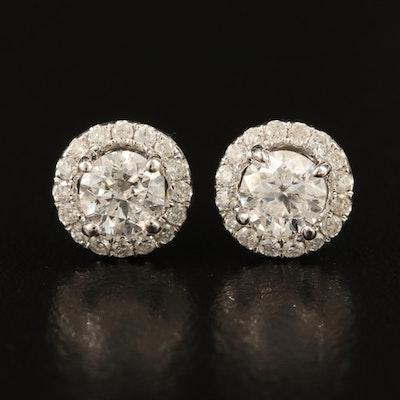 14K 1.00 CTW Diamond Stud Earrings with 0.28 CTW Diamond Halos