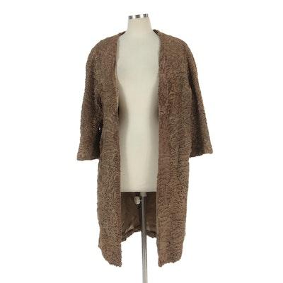 Dark Tan Persian Lamb Collarless Coat