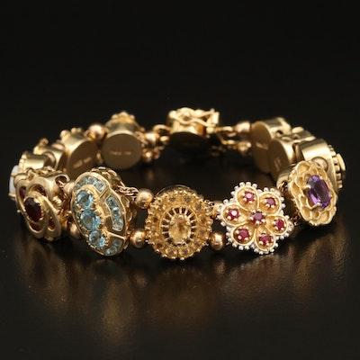 Vintage 14K Gemstone Slide Bracelet Including Topaz, Ruby, and Diamond