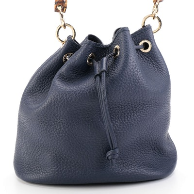Plinio Visona Navy Grained Leather Drawstring Bag with Bamboo Handle