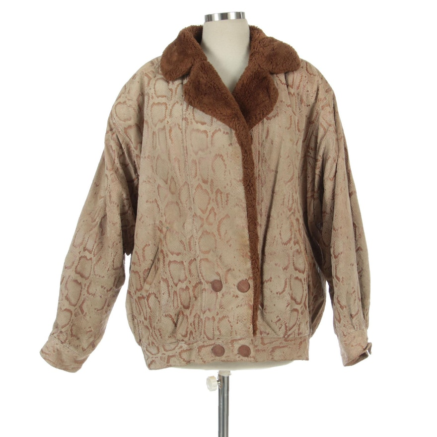 Marvin Richards Python-Printed Leather Bomber Jacket with Faux Shearling Lining