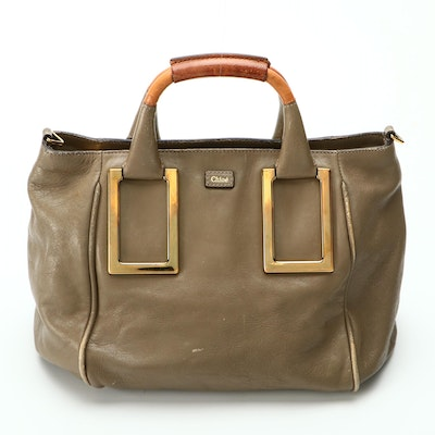 Chloé Ethel Cross Body Tote Satchel in Taupe Leather with Detachable Strap