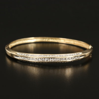 14K 2.00 CTW Diamond Hinged Bangle