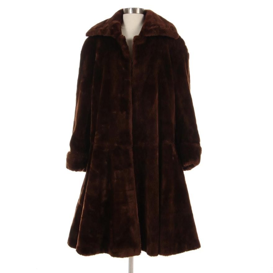 Italian Brown Faux Fur Coat