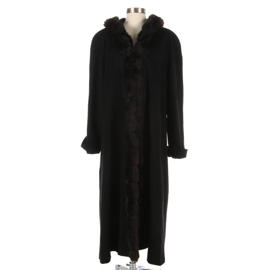 Wool Raglan Sleeve Coat with Hood and Faux Mink Trim by Jonathan Michael