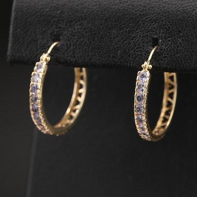 14K Tanzanite Hoop Earrings