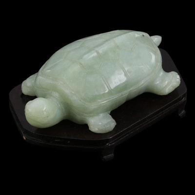 Chinese Carved Serpentine Turtle with Wood Base