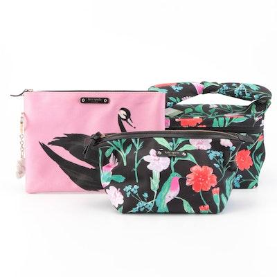 Kate Spade Black Swan Zip Clutch and Floral Patterned Cosmetics Bag Set