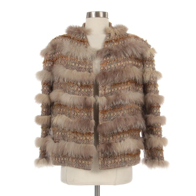 Short Jacket in Tweed, Woven Suede, Woven Lamb, and Fox Fur by Schjelde