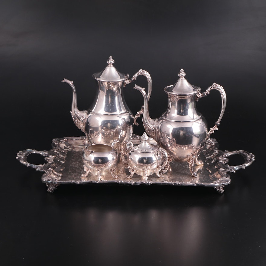 Sheridan Silver Plate Tea and Coffee Service with Tray, Mid to Late 20th Century