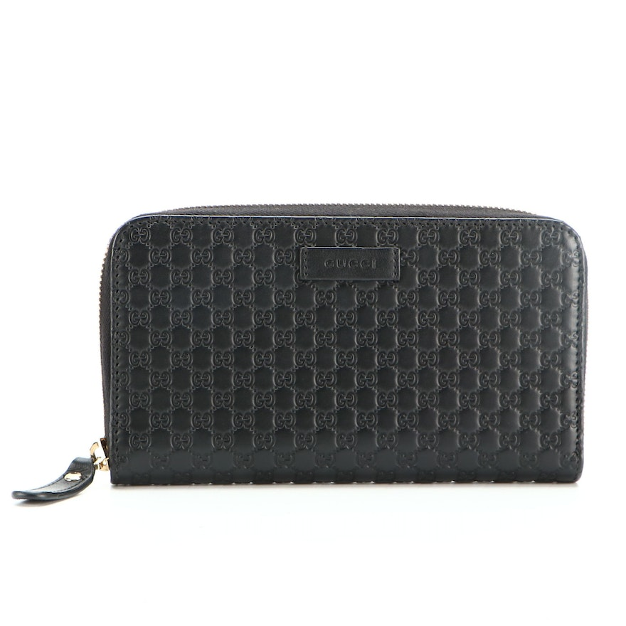 Gucci Continental Clutch Wallet in Microguccissima in Black Embossed Leather