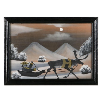 Winter Scene Reverse Glass Painting of Reindeer and Sled, Mid-20th Century