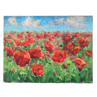 Leira Veylin Acrylic Painting of Poppies, 21st Century
