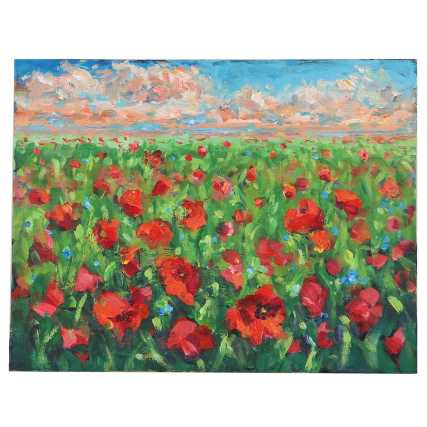 Leira Veylin Acrylic Painting of Poppy Field